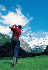 driving shot in engelberg mountain swiss golf course