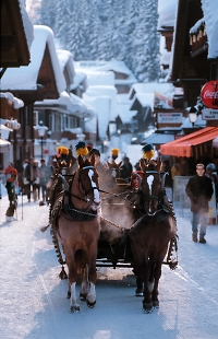 adelboden village with horses in snow