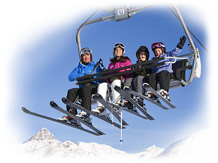 Winter Skiing Family on Chairlift - Swiss Holiday