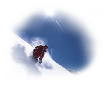 Girl Powder Skiing with blue skies - Saas Fee