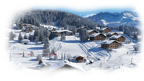 Winter Ski Holidays in Villars-Gryon - Villars covered in fresh white snow in front of the Swiss Alps