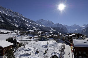 wengen village after fresh snow