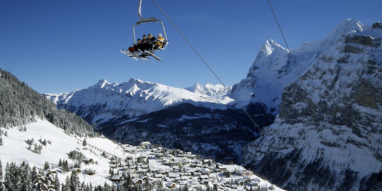 Great Prices on Swiss Ski Holidays - Chair-lift in Wengen, with Eiger in background