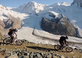 downhill biking near the glacier