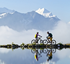 lakes and mountains riding in the alps