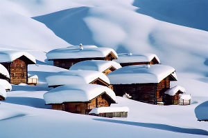 classic wooden stadels in switzerland ski resorts