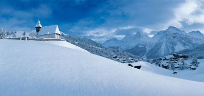snowy view over arosa switzerland