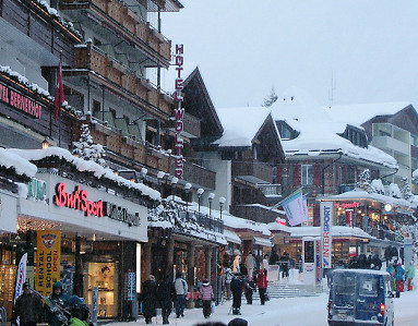 Snowy Village of Grindelwald at the foot of the Eiger. Above Interlaken in the Jungfrau region