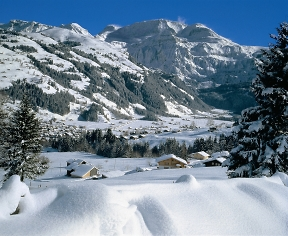 snowy village of lenk switzerland