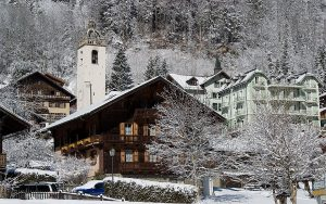 champery wooden houses in winter with snow